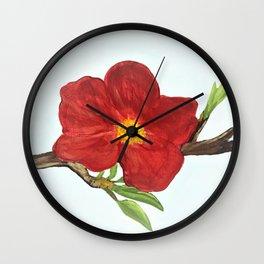 Bright Red Plumb Blossom Wall Clock