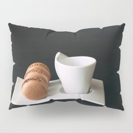 Set of cup of coffee and macaroons against black background Pillow Sham