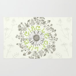 Circle Of Life Mandala With Hand Drawn Flowers Rug