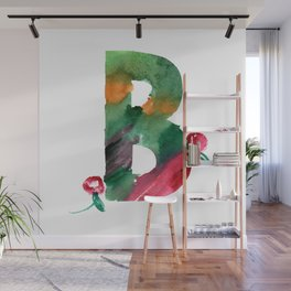 Watercolor hand drawn the letter B with berries. ABC. Monogram Wall Mural