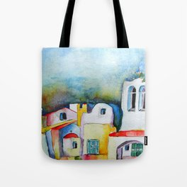 watercolor meets greek architecture Tote Bag