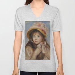 """Auguste Renoir """"Girl with Pink Bonnet (Jeune fille au chapeau rose)"""" Unisex V-Neck"""