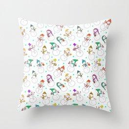 Cute red purple white snowman christmas pattern Throw Pillow