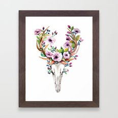 Boho watercolour skull with purple flowers crown Framed Art Print