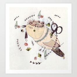 Mr Wind up Bird Art Print