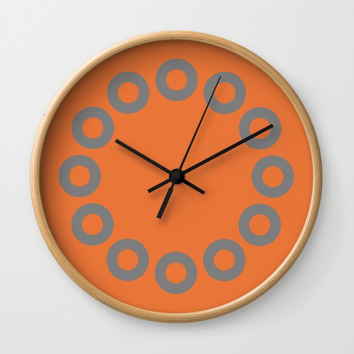 Gray & Orange Os Wall Clock