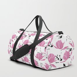 Pink black watercolor paint splatters floral Duffle Bag