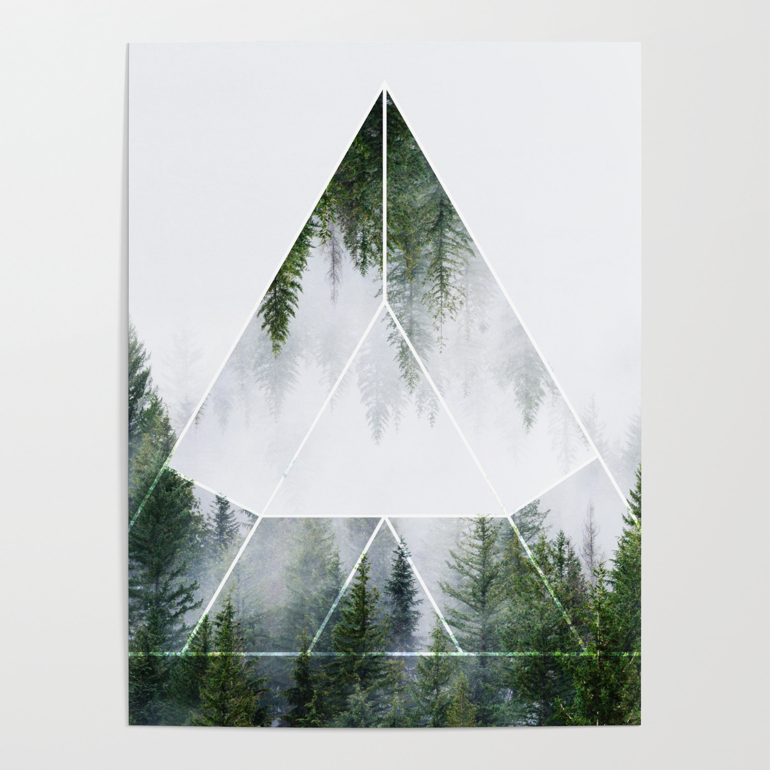 Sacred Geometry In Nature Green Forest Geometric Triangle Poster By Bluethistleart Society6