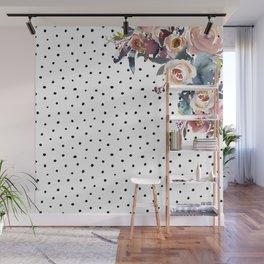 Boho Flowers and Polka Dots Wall Mural