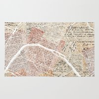 paris map Area & Throw Rugs featuring Paris map by Mapsland