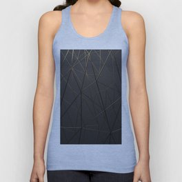 Golden Wireframe Triangles Unisex Tank Top