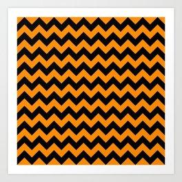Large Black and Pumpkin Orange Halloween Chevron Stripes Art Print