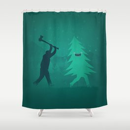 Funny Christmas Tree Hunted by lumberjack (Funny Humor) Shower Curtain