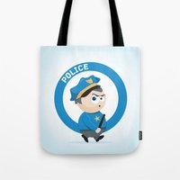 police Tote Bags featuring Police by Emir Simsek