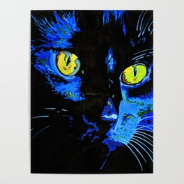 Marley The Cat Portrait With Striking Yellow Eyes Poster