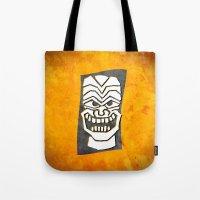 tiki Tote Bags featuring Tiki by materndesign