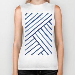 Watercolor lines pattern | Navy blue Biker Tank