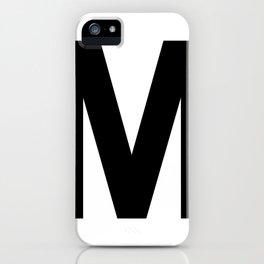 Letter M (Black & White) iPhone Case