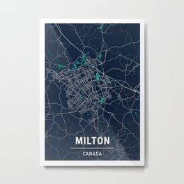 Milton Blue Dark Color City Map Metal Print