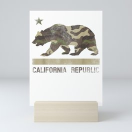 Camouflage California Republic Flag Bear Star Cali LA TShirt T-Shirt Mini Art Print