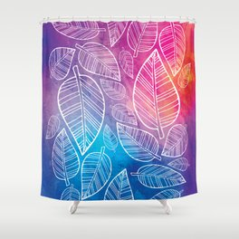 Feather Leaves: Brights Shower Curtain