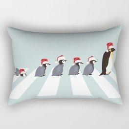Christmas Santa Penguins The Abbey Road Rectangular Pillow
