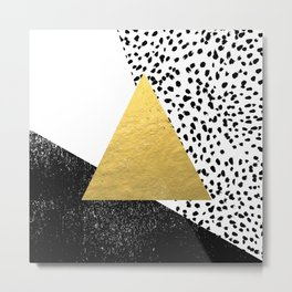 Erida - abstract black and white gold triangle painted dots minimalist decor nursery dorm college ar Metal Print