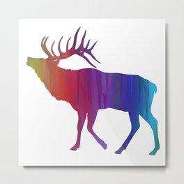 Rainbow Watercolor Dripping Elk Metal Print