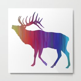 Rainbow Watercolor Dripping Elk Metal Print