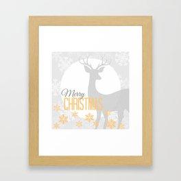 Serene Christmas Setting With Deer Framed Art Print