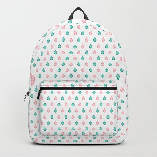 Turquoise and coral raindrops Backpack