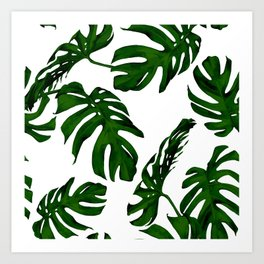 Simply Tropical Palm Leaves in Jungle Green Art Print