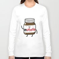 nutella Long Sleeve T-shirts featuring HAPPY NUTELLA IS HAPPY by Agustin Flowalistik