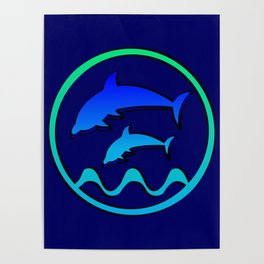 Dolphin Jumping Hoop Poster