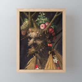 Four Seasons In One Head - Giuseppe Arcimboldo Framed Mini Art Print