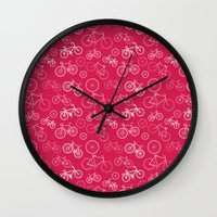 bicycles Wall Clocks featuring Bicycles by Kippy