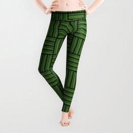 Green metallic pattern Leggings