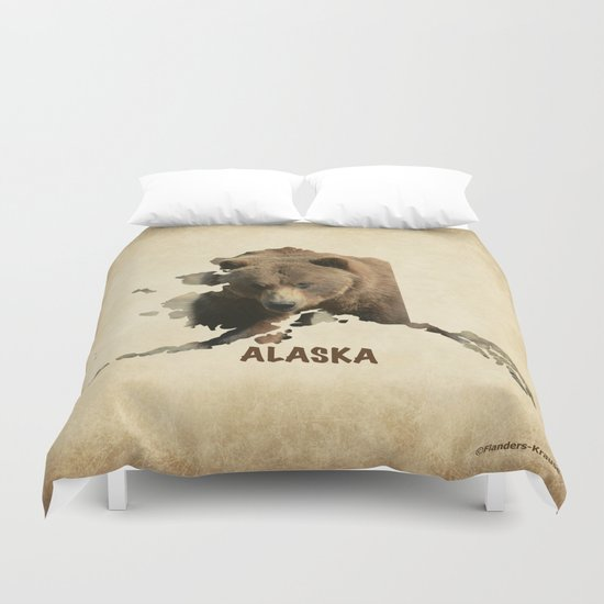 Alaskan Grizzly Map Duvet Cover