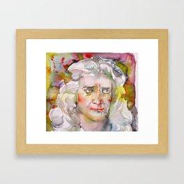 ISAAC NEWTON - watercolor portrait.2 Framed Art Print