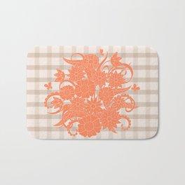 lines pattern with orange bouquet Bath Mat