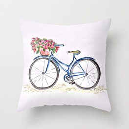 Spring bicycle Throw Pillow