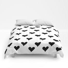 Retro Hearts Pattern Black White Comforters