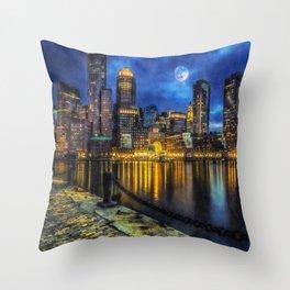 Downtown At Night Throw Pillow