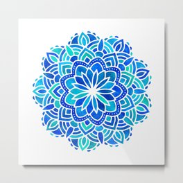 Mandala Iridescent Blue Green Metal Print