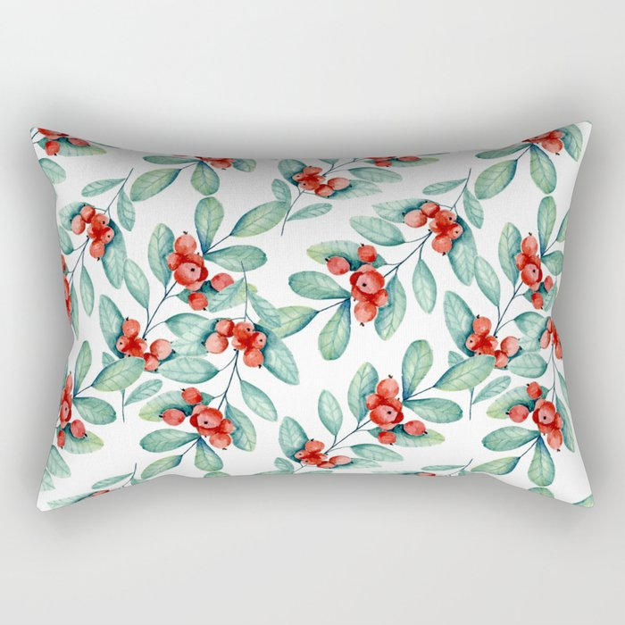 Branches with red berries Rectangular Pillow