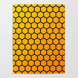 Yellow and orange honeycomb pattern Poster