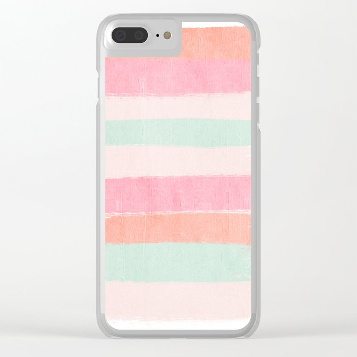 Brax - gender neutral stripes painted brushstrokes abstract painting nursery baby Clear iPhone Case