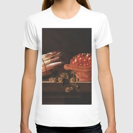 Adriaen Coorte - Asparagus, Gooseberries and Strawberries on a Stone Ledge T-shirt