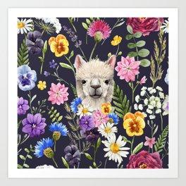 Wildflower Alpaca Art Print