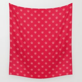 Cream Yellow on Crimson Red Snowflakes Wall Tapestry
